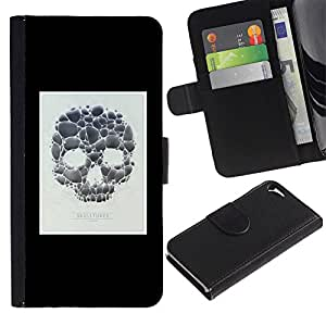 LASTONE PHONE CASE / Luxus Leder Brieftasche Hülle Kartenhalter Flip Schutz Etui für Apple Iphone 5 / 5S / Skull Poster Minimalist White Black
