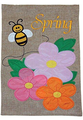 Toland Home Garden Spring Bee Burlap bandiera decorativo da giardino, 30,5x 45,7cm - Rosa Bumble Bee