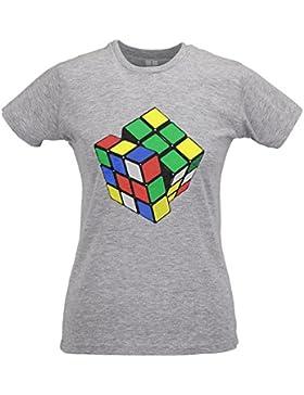 LaMAGLIERIA Camiseta Mujer Slim Rubik'S Cube - T-Shirt Sheldon Cooper Big Bang Theory 100% Algodòn Ring Spun