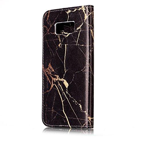 Samsung Galaxy S8 Custoida in Pelle Portafoglio,Samsung Galaxy S8 Cover Pu Wallet,KunyFond Lusso Moda Marmo Dipinto Leather Flip Protective Cover con Bella Modello Cover Custodia per Samsung Galaxy S8 Marmo in oro nero