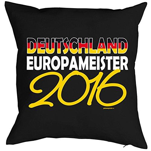 0 Fußball Kissen, Dekokissen zur EM komplett mit Füllung - Deutschland Europameister 2016! Schwarz Rot Gold