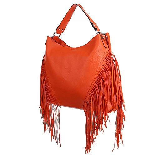 Damen Tasche, Große Handtasche Mit Fransen, Kunstleder, TA-7035-599 Orange