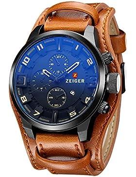 [Gesponsert]Herren Uhr ZEIGER Analog Quarz Leder Armbanduhr Braun Schwarz Herrenuhr mit Datum Funktion (Braun)
