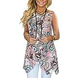 VEMOW Sommer Cool Elegant Damen Mädchen Frauen Casual Täglichen Party Im Freien Unregelmäßige Gedruckt Sleeveless Asymmetrische Lose Tunika Bluse Tops Pullover Pulli Tees(Rosa, EU-46/CN-XL)