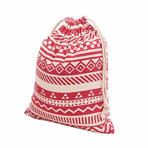 M , Red : Culater® National Wind Stripes Drawstring Beam Port Storage Bag Travel Bag Gift Bag (M, Red)