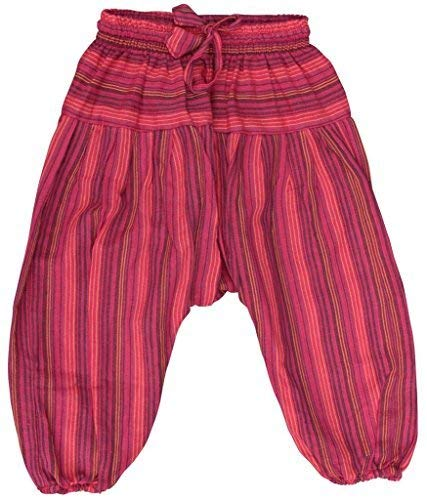 Shopoholic - Pantalones holgados para niños, estilo hippie retro, multicolor rojo rojo (Maroon) XXXL