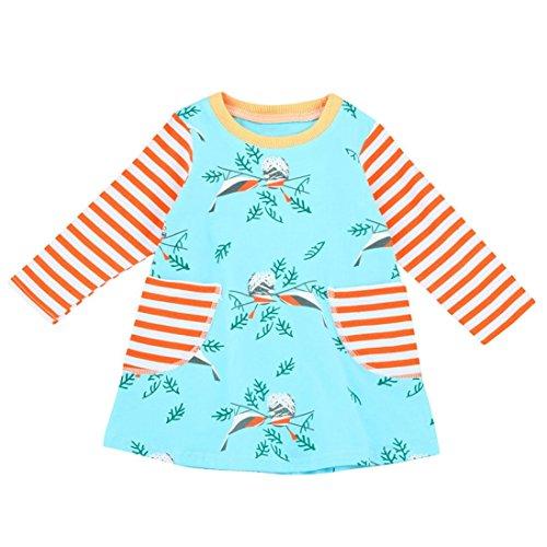 (Amlaiworld baby Mädchen Vögel drucken langarm kleider Kleinkind locker gestreift Prinzessin kleidung,2-6 Jahren (4 Jahren, Blau))