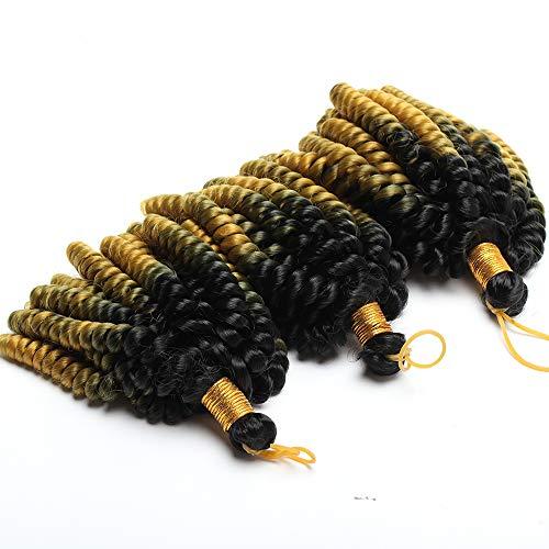 Sego extension capelli corti ricci marley bob 15cm treccine a crochet tessitura matassa sintetica spirale 1 bundle braiding hair 60g - nero ombre oro