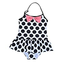 YiZYiF Little Girls Kids Cute One Piece Halter Polka Dots Swimsuit Ruffle Swimming Costume White&Black 2 Years