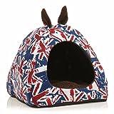 Kungfu Mall Chaud chien chat de la maison chiot uk oreille drapeau couchage lit coussin maison cabane pad panier de chenil