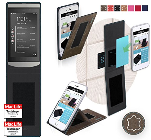 reboon BlackBerry Porsche Design P9982 Hülle Tasche Cover Case Bumper | Braun Wildleder | Testsieger