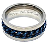Luxus Gravur Gifts UK Happy 90th Birthday Personalisierte Herren-Ring Größen R S T U V W x Y Z in Geschenk-Box – AA64
