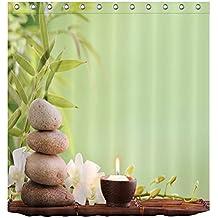 LB Tejido de poliéster Impresión 3D impermeable a prueba de moho Cortinas de baño Buddah Buddhism Budista spa yoga zen I Cortinas Para la decoración del cuarto de baño Con 12 ganchos