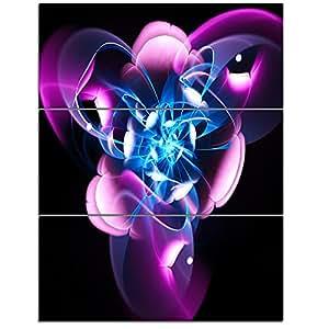 "Design Art MT12066-3PV Blue Purple Large Fractal Flower Design Abstract Metal Wall Art (3 Piece),Blue,28x36"""
