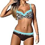 ESAILQ Frauen Gepolsterter Push-Up-BH-Bikini-Set Badeanzug Bademode Beachwear(Small,Blau)