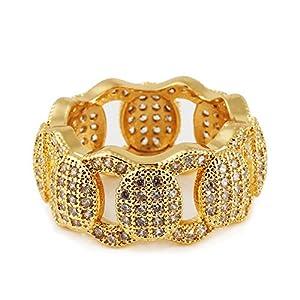 mcsays Hip Hop Ringe Jewelry Iced Out Full Kristall kubanischen Kette Special Ring CZ Bling Gold/Silber vergoldet Finger Ringe für Herren/Frauen Dope Geschenke