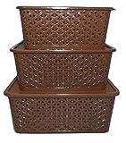 #7: NAOE (SUPER DEALS) Plastic Multipurpose Storage Basket (Brown) - Set of 3