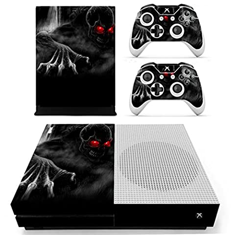 DOTBUY Xbox ONE S Design Folie Vinyl Aufkleber für Konsole + 2 Controller + Kamera Skin Sticker Set (Red Eye Skull)