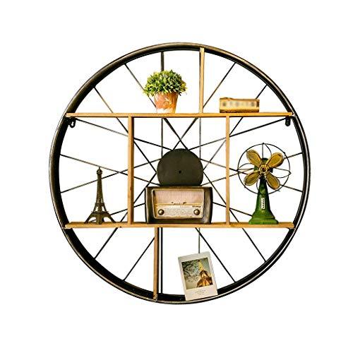 Holz-speicher-wand-einheit (MXZ Lagerregal Regale, Metallkreis-Wand-Einheits-dekorative Retro- Art-Speicher-Anzeigen-Eisen-Klammer-Holz)