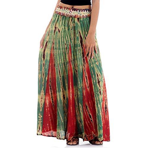 Indien Kostüm Frauen - Langer Hippie Batik Gypsy Zigeuner Rock 36 38 40 42 S M (Grün & Rot)