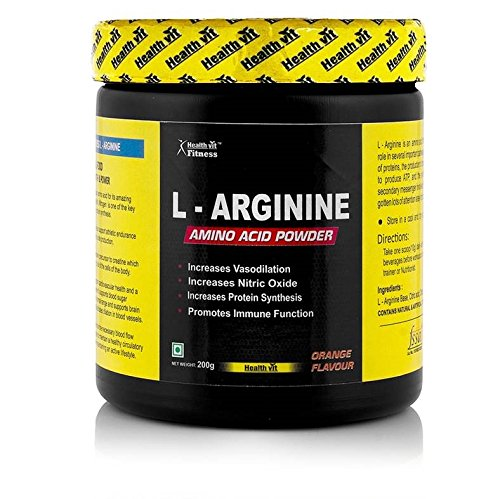 Healthvit Fitness L Arginine Amino Acid Pre Workout Powder - 200 g (Orange)  available at amazon for Rs.749