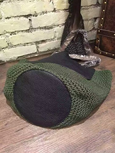 Il cuoio della parte inferiore di cuoio della borsa della spalla del tessuto tessuto tessuto tessuto della spiaggia della Tuta , green green
