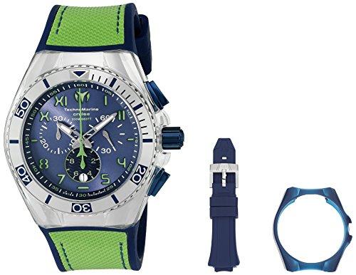 Technomarine da uomo con cinturino in Silicone, colore: verde-46 mm, acciaio inossidabile, quadrante 115011 Orologio al quarzo, colore: nero