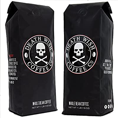 Death Wish Whole Bean Coffee Bundle Deal, The World's Strongest Coffee, Fair Trade and USDA Certified Organic, 2 lb Bag by Death Wish Coffee Company