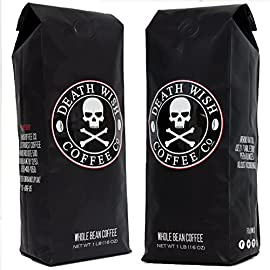 Death Wish Whole Bean Coffee Bundle Deal, The World's Strongest Coffee, Fair Trade and USDA Certified Organic, 2 lb Bag