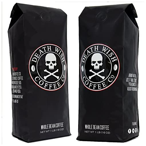 Death Wish Whole Bean Coffee Bundle Deal, The World's Strongest Coffee, Fair Trade and USDA Certified Organic, 2 lb Bag 51cpaAn4qpL