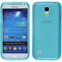 Funda de silicona para Samsung Galaxy S4 Mini - brushed azul - Cover PhoneNatic Cubierta + protector de pantalla