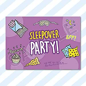 A6 Cards Birthday Party Invitations Invites Pack Girls Boys Childrens Kids With Envelopes Sleepover 1 Sample Card 1 Envelope