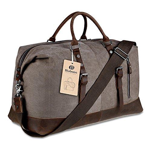 BLUBOON Weekender Vintage Reisetaschen Leder Segeltuch Herren Damen (Dunkelgrau) Kaffee