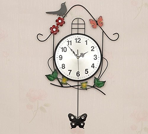 LD-Magpie Persönlichkeit Uhren Wanduhr Mit Gemalt Das Wohnzimmer Garten Schaukel Vogel Uhr Stumm Mode Uhr
