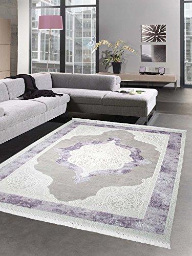 Teppich Wollteppich Ornamente Oriental Creme Taupe lila auch in oval erhältlich Größe 160x230 cm -