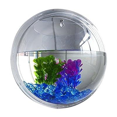 Wandbehang Aquarium - TOOGOO(R)Pflanze Wandbehang Montage Blase Aquarium Schuessel Fisch Behaelter Aquarium Haus Dekoration (Spiegel)