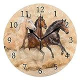 Ahomy Pferd Wüstenzahl Wanduhr 24cm rund Uhr geräuschlos Nicht tickend batteriebetrieben leicht ablesbar für Zuhause Büro Schule