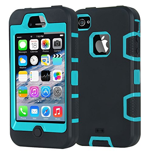 ombo Apple iPhone 4 4S Fall Heavy Duty Combo Hybrid Defender High Impact Körper Rugged Hard PC & Silikon Case Schutzhülle für Apple iPhone 4 4S ()
