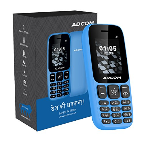 Adcom J3 Voice Changer Dual Sim Mobile Phone (1.8 inch Display, 1050 mAh Battery, Blue)