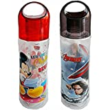 Kp Ski Hongkong Combo Set Of 2 Kids Favourite Cartoon Character Micky & Marvel Avenger Printed Transparent Sports / Cycling Water Bottle With Easy Handle Lid For School Going Kids( 600 ML)