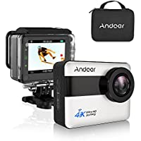 Andoer 2.31 Inch Touchscreen Action Camera Wifi 4k,1080P Full HD 20MP Novatek 96660 Chipset,170 Wide Angle Waterproof Sports Cam 30m Hard Case (Silver)