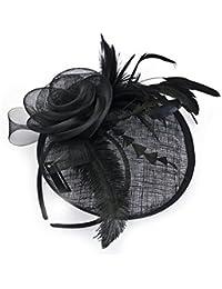 Tocado negro En Diadema/Clip para bodas, carreras y ocasiones