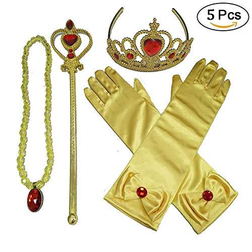 NNJXS Neue Prinzessin Kostüme Set 8 Stück Geschenk aus Diadem, Handschuhe, Zauberstab, Halskette 2-9 Jahre (Color : Yellow, Size : M)