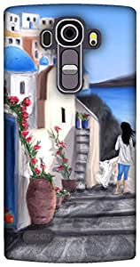 The Racoon Lean Santorini,Greece hard plastic printed back case for LG G4