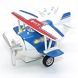 Joy-Fun Jouets pour garçons de 3 à 8 Ans Avion Jouet moulé sous Pression Véhicules Jouets rétractables Avion avec lumières et Sons Cadeau pour Enfants JF-UK-Plane Bleu