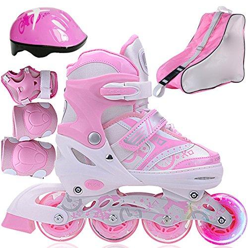WANG-L Rollschuhe Jungen Mädchen Inline Skate Einstellbare Rollerblades Kinder Erwachsene Kinder Set Für Anfänger Kleinkinder,Pink-L -