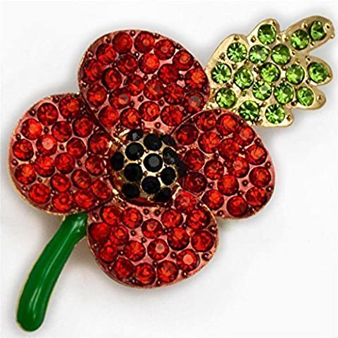 AGE designs NEW POPPY BROOCH RED RHINESTONE DIAMANTE CRYSTALS PIN