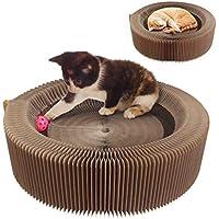 AK KYC Gato Cat Scratcher Lounge Cartón plegable que rasguña el cojín redondo de la cama Tinkle Pelota alta Density que recicla el gatito acanalado Turbo Toy para Mascotas Scratcher Cat Scratching Board Nest Pets Divertido Juguete Herramienta de Entrenamiento