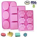 Yucool, 6 stampi in silicone, per sapone e cibo, decorazione per torte e cubetti di ghiaccio, con forme di zampa di cucciolo di cane zampa, ovale e quadrato, colore rosa caldo