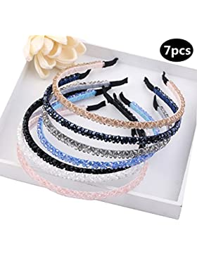 AWAYTR Mädchen / Frauen Bejeweled Funkeln Kristall Wulstig Blume Perle Stirnbänder.